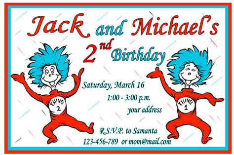 Thing 1 And Thing 2 Baby Shower Supplies by Thing 1 And Thing 2 Birthday Invitations
