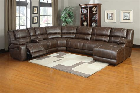 soft brown leather reclining sectional sofa push back
