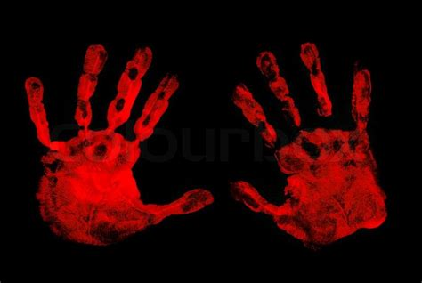 Popular Home Plans set of red hand prints on black background stock photo