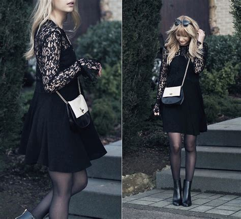 Dress Zara Black Lace kristiana v zara lace dress fiorelli bag h m boots