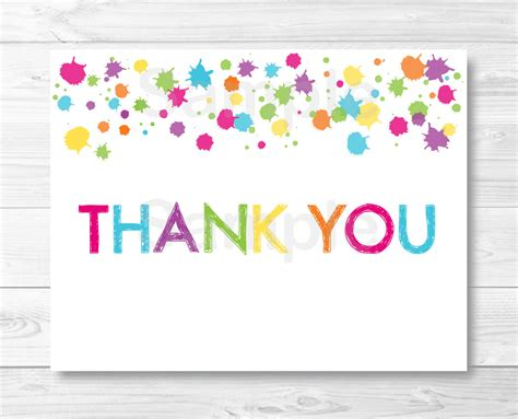 Rainbow Art Party Thank You Card Template Art Birthday Party Thank You Card Template For