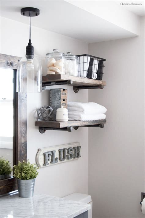 Bathroom Pipe Shelving How To Build Diy Industrial Pipe Shelves Cherished Bliss