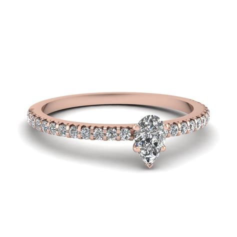 small pear affordable engagement ring band in 14k