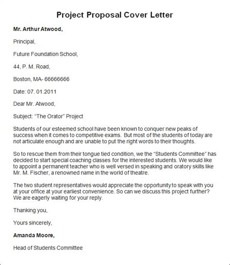 proposals cover letter sles