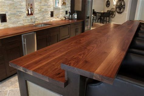 Bar Counter Tops by Custom Wooden Kitchen Island With Raised Bar Top In Walnut