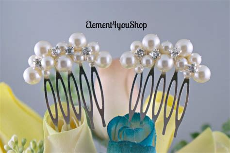 Set Of 2 Flower Hair Comb bridal small hair combs set of 2 ivory pearls