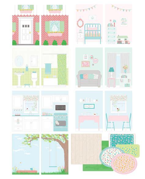 printable mini paper doll house backgrounds set