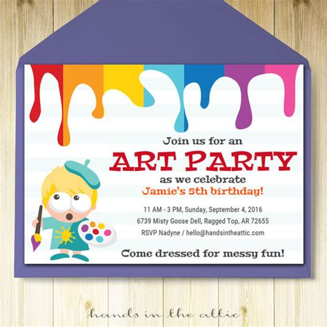 free printable art birthday invitations art party invitation card template printable kids