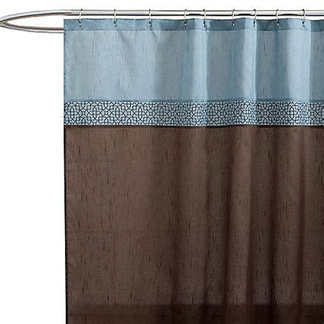 light blue and brown shower curtain geometric blue brown fabric shower curtain