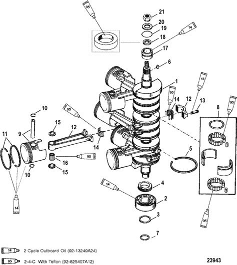 mercury mariner racing   efi pro max crankshaft pistons connecting rods parts
