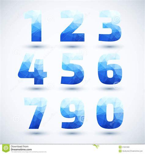 geometric pattern numbers blue numbers set modern geometric style stock photos