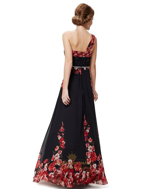 Print One Shoulder Dress black floral print one shoulder chiffon prom dress with 3d