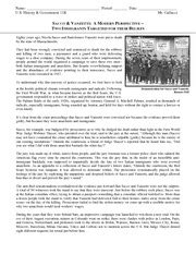 Sacco And Vanzetti Essay by Sacco And Vanzetti Angela Etienne Steiner U S History 1 Use The Following Questions To Guide