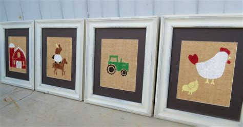 Farm Nursery Decor Farm Animal Nursery Decor Kid S Wall Prints On Burlap 8x10 Set Of 4 Children S Wall