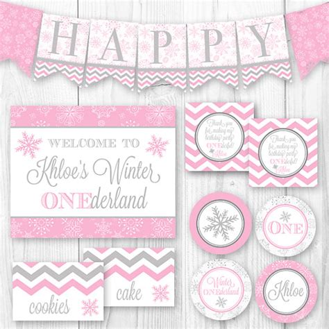 winter printable decorations items similar to winter onederland birthday package pink gray snowflake diy printable