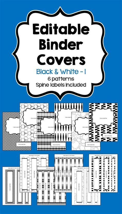 free editable printable binder covers and spines editable binder covers spines in black white part 1