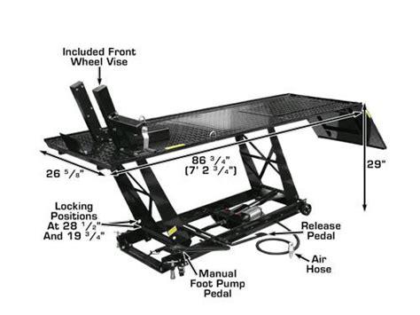 motorcycle air lift bench mc1000 1 000 lb capacity air hydraulic motorcycle lift