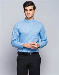 Buy fabindia cotton cambric chinese collar fitted shirt