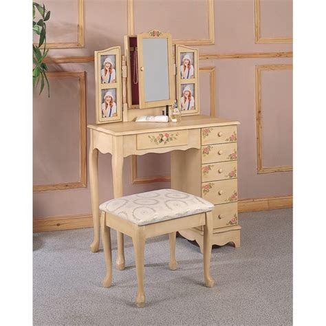 makeup vanity bench coaster hand painted wood makeup vanity table set with mirror in ivory 4038