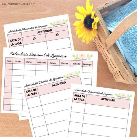 ejemplo nominasbempleadas del hogar 2016 calendario semanal para limpiar la casa soy mam 225 en casa