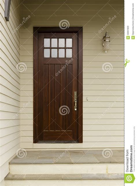 brown front door a wood slim front door stock photo image 56661820