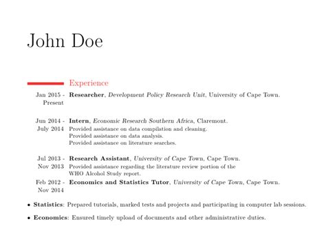 Resume Bullet Points For Tutor Moderncv Alignment Of Bullet Points In Modern Cv Tex Stack Exchange
