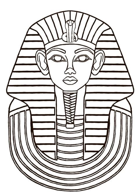 king tut mask template sarcophagus designs then i did a line drawing