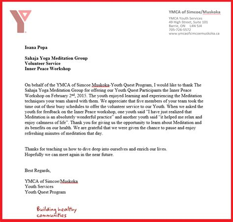 Community Service Volunteer Thank You Letter Community Feedback Certificates Sahaja Halton