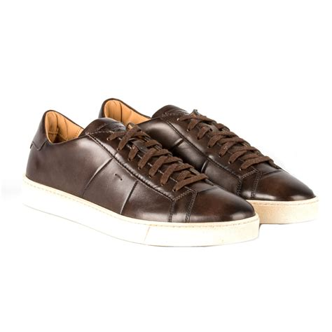 mens brown leather sneakers santoni brown leather sneakers in brown for