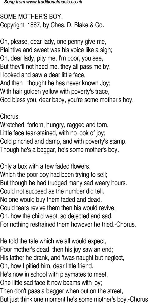 Old Time Song Lyrics for 20 Some Mothers Boy