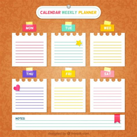 daily planner template ai weekly planner with paper notes vector free download