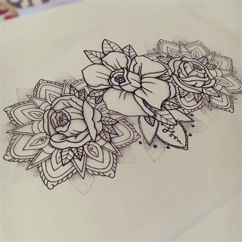 mandala blumen tattoo flowers mandala tattoo design thigh dotwork