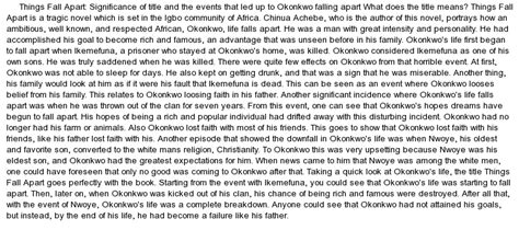 Things Fall Apart Essay Okonkwo by Things Fall Apart Events That Led Up To Okonkwo Falling At Essaypedia