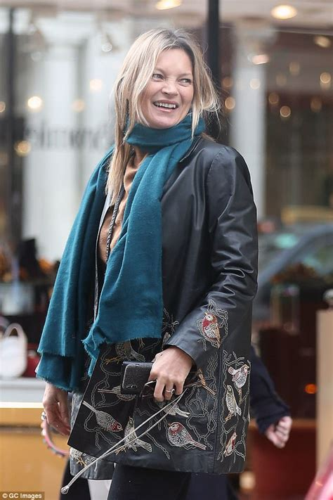 Kate Moss Weathered For Fhm by Kate Moss Rocks An Embroidered Leather Jacket Daily Mail