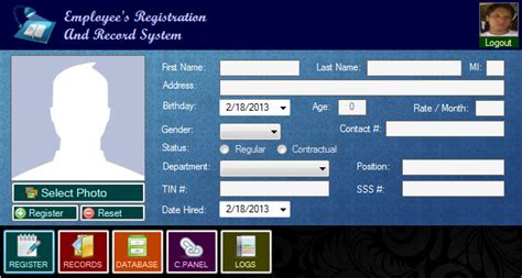 layout design in vb net employee s registration and record system free source
