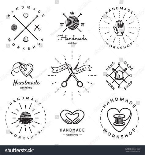 vintage logo generator stock vector image of brush handmade workshop logo vintage vector set stock vector