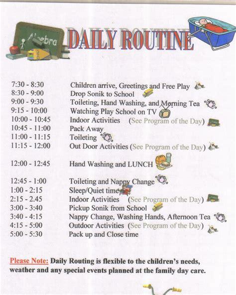 Child Care Daily Routine Template by Best Photos Of Family Routine Schedule Family Daily