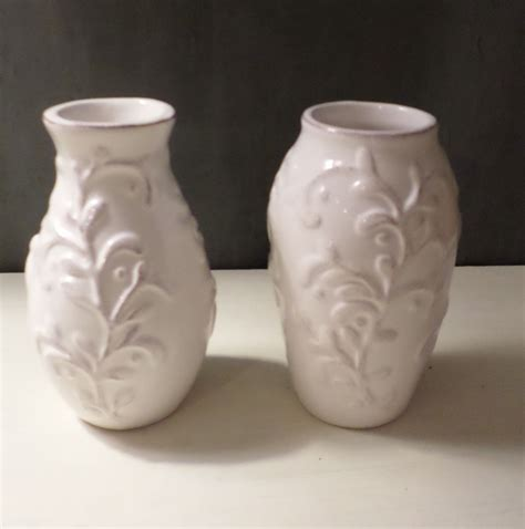 Two Vases by 2 Lovely White Vases Each W Different Shape Vase