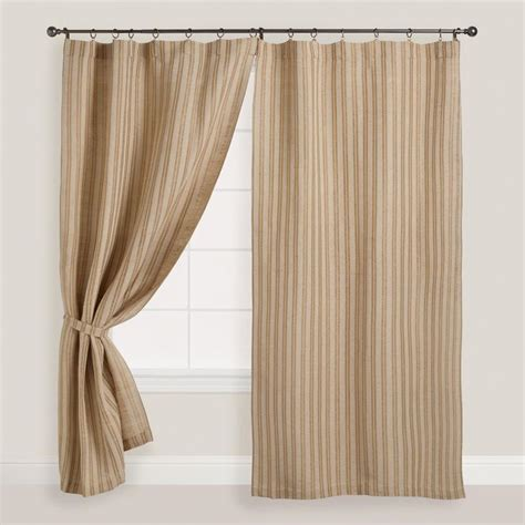 neutral striped curtains natural striped jute iron ring curtains set of 2