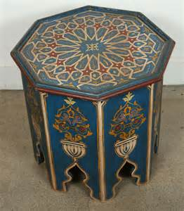 Moroccan Side Table Moroccan Blue Side Table With Moorish Design At 1stdibs