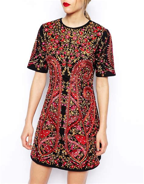 Premium Dress Embroidery Aic asos premium embroidered shift dress lyst