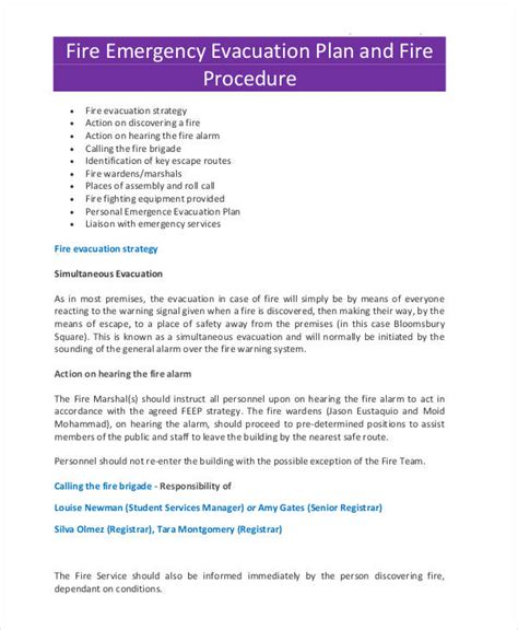 27 Emergency Plan Exles Emergency Evacuation Plan Template For Business