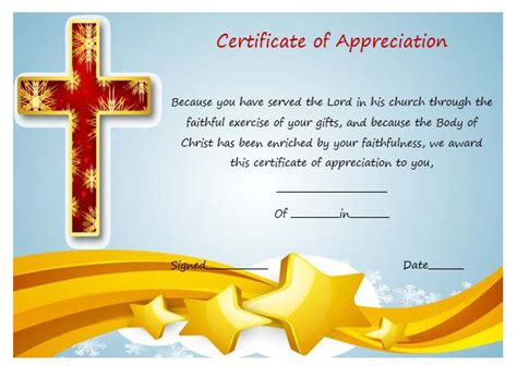 pastor appreciation certificate template free sle of certificate of appreciation for pastor 2