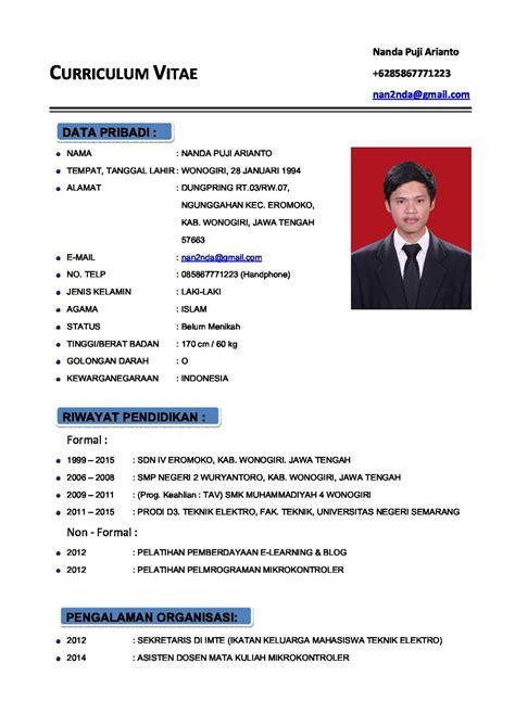cara membuat cv indonesia contoh cv curriculum vitae atau daftar riwayat hidup
