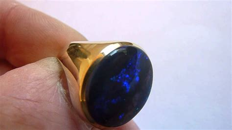black opal mens ring vintage 8ct gold large natural blue black mens gents
