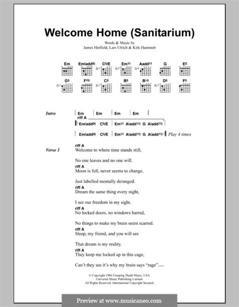 welcome home sanitarium by j hetfield k hammett l