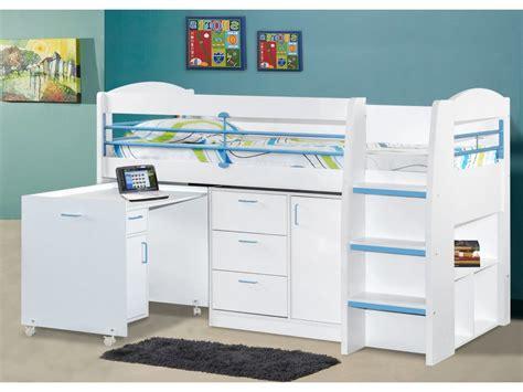 chambre enfant combine lit combin 233 dido ii 90x190 cm bleu option matelas