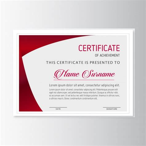 certificate design red red certificate template vector free download