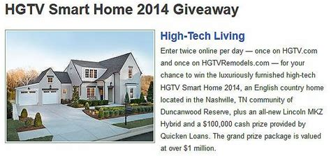 hgtv smart home 2014 giveaway - Hgtv Smart Home 2014 Giveaway