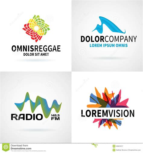 colorful logo design elements vector set set of modern colorful abstract logo emblem vector stock